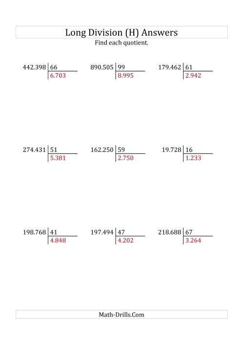 The European Long Division with a 2-Digit Divisor and a 4-Digit Quotient with No Remainders (H) Math Worksheet Page 2