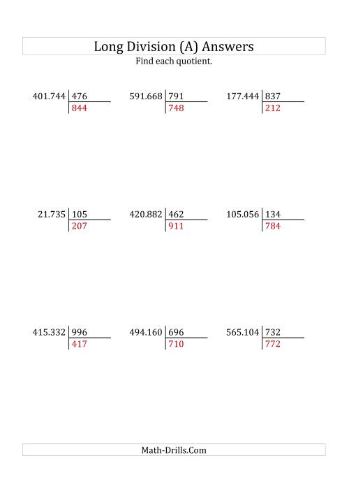 The European Long Division with a 3-Digit Divisor and a 3-Digit Quotient with No Remainders (A) Math Worksheet Page 2