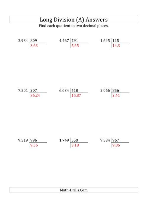 The European Long Division with a 3-Digit Divisor and a 4-Digit Dividend with Decimal Quotients (A) Math Worksheet Page 2