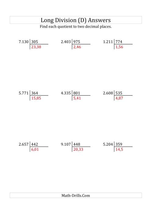 The European Long Division with a 3-Digit Divisor and a 4-Digit Dividend with Decimal Quotients (D) Math Worksheet Page 2
