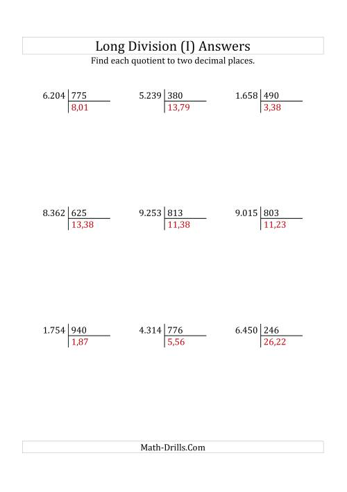 The European Long Division with a 3-Digit Divisor and a 4-Digit Dividend with Decimal Quotients (I) Math Worksheet Page 2