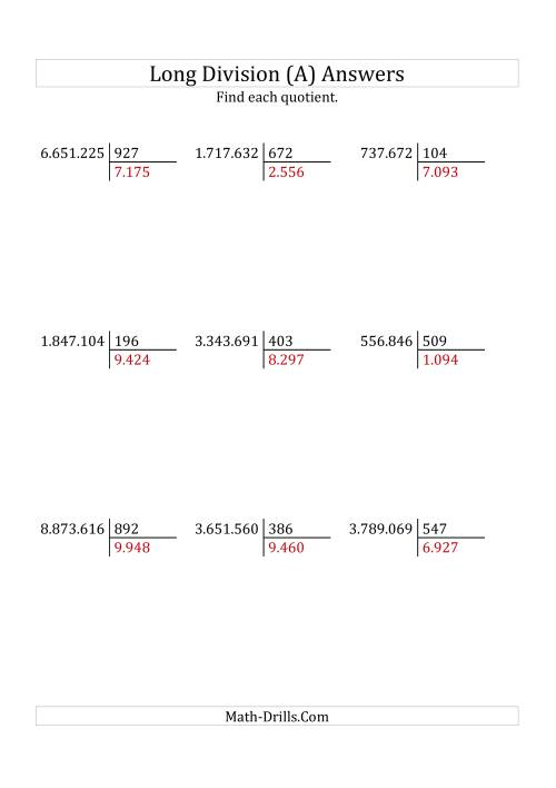 The European Long Division with a 3-Digit Divisor and a 4-Digit Quotient with No Remainders (A) Math Worksheet Page 2