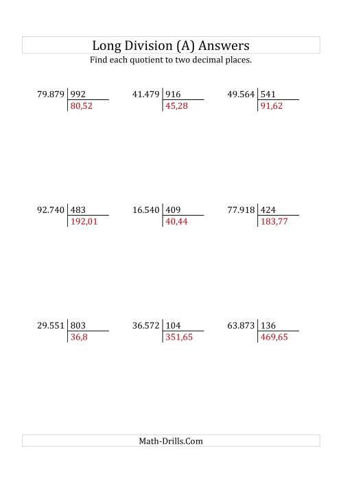 The European Long Division with a 3-Digit Divisor and a 5-Digit Dividend with Decimal Quotients (A) Math Worksheet Page 2