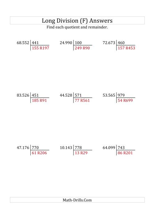 The European Long Division with a 3-Digit Divisor and a 5-Digit Dividend with Remainders (F) Math Worksheet Page 2