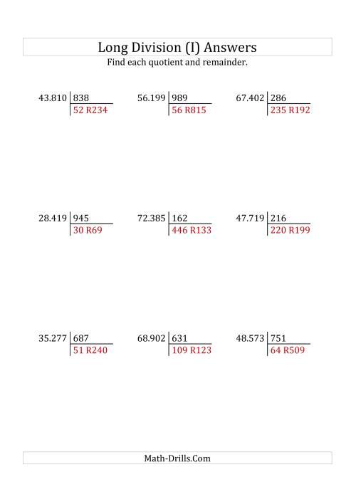 The European Long Division with a 3-Digit Divisor and a 5-Digit Dividend with Remainders (I) Math Worksheet Page 2