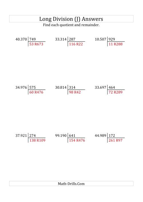 The European Long Division with a 3-Digit Divisor and a 5-Digit Dividend with Remainders (J) Math Worksheet Page 2