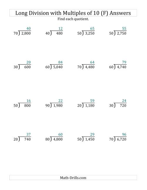 The Long Division by Multiples of 10 with No Remainders (F) Math Worksheet Page 2