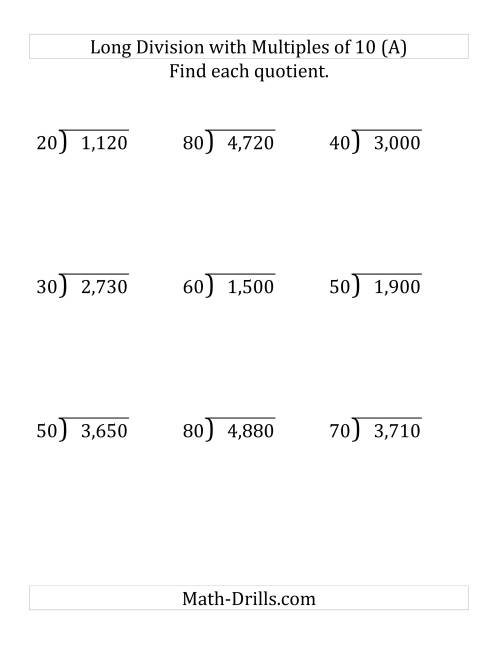 The Long Division by Multiples of 10 with No Remainders (LP) Math Worksheet