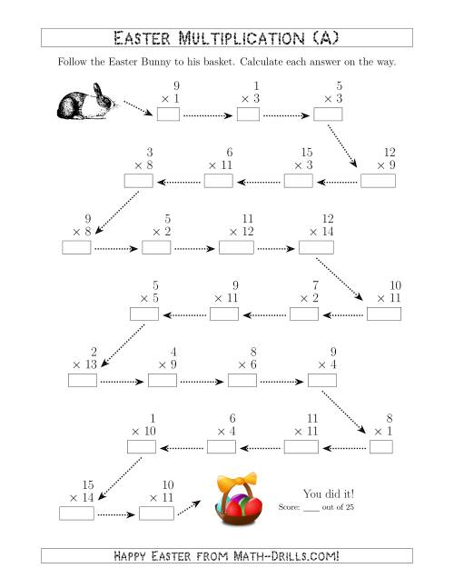 The Follow the Easter Bunny Multiplication Facts with Products to 225 (A) Math Worksheet