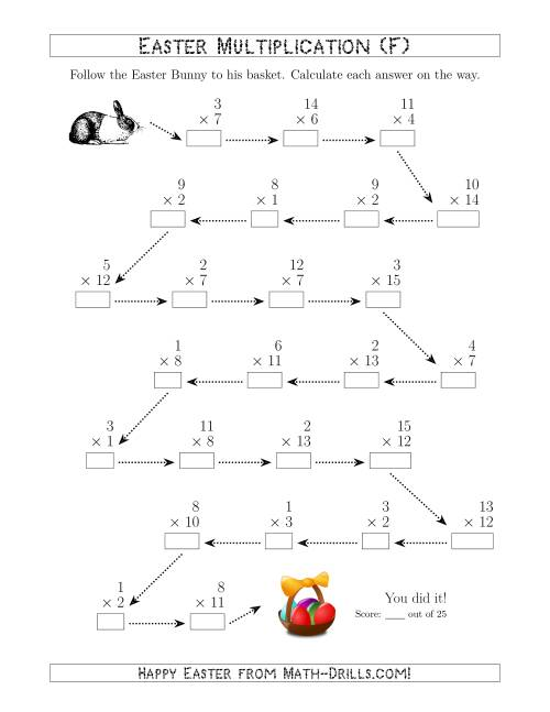 The Follow the Easter Bunny Multiplication Facts with Products to 225 (F) Math Worksheet