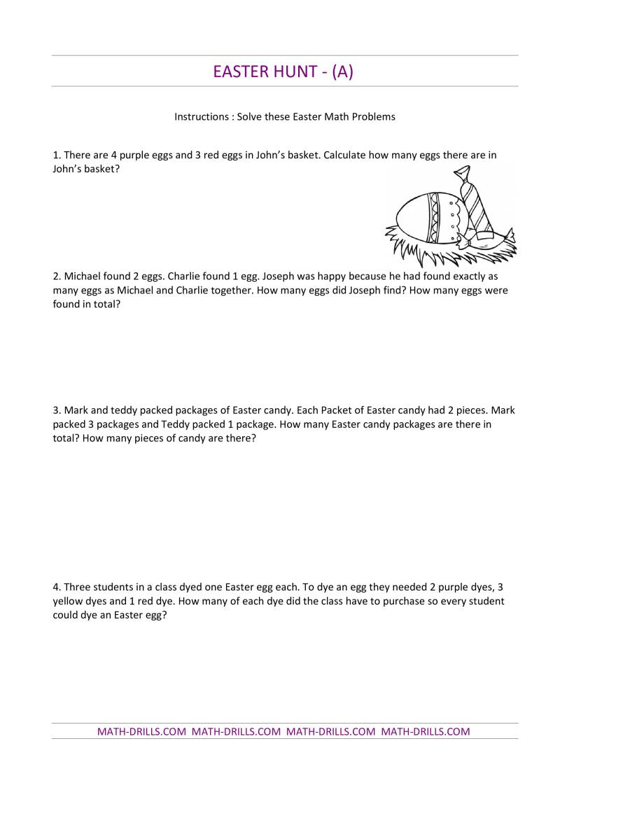 Easter Hunt Word Problems A Easter Math Worksheet – Keywords in Math Word Problems Worksheet
