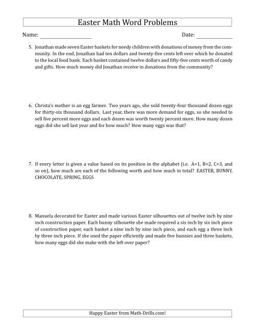 The Easter Math Word Problems Math Worksheet Page 2