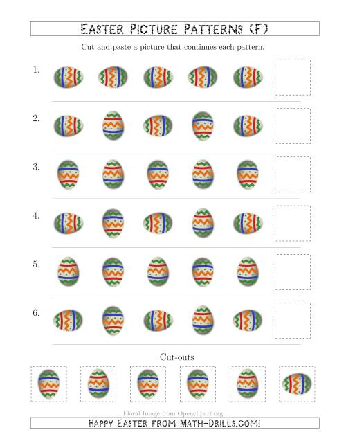 The Easter Egg Picture Patterns with Rotation Attribute Only (F) Math Worksheet