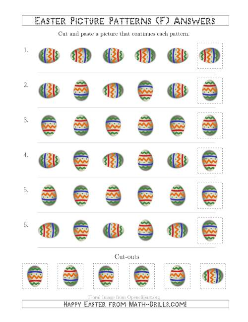 The Easter Egg Picture Patterns with Rotation Attribute Only (F) Math Worksheet Page 2