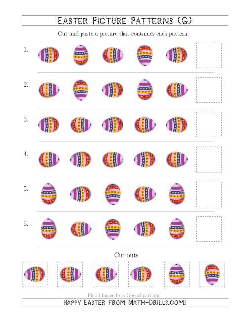 The Easter Egg Picture Patterns with Rotation Attribute Only (G) Math Worksheet