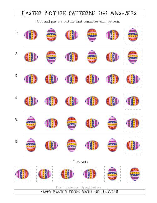The Easter Egg Picture Patterns with Rotation Attribute Only (G) Math Worksheet Page 2
