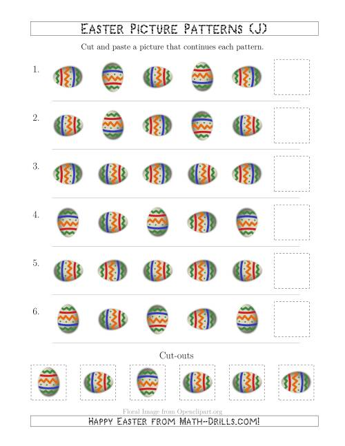 The Easter Egg Picture Patterns with Rotation Attribute Only (J) Math Worksheet
