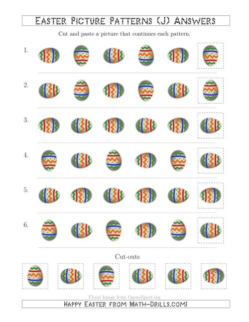 The Easter Egg Picture Patterns with Rotation Attribute Only (J) Math Worksheet Page 2