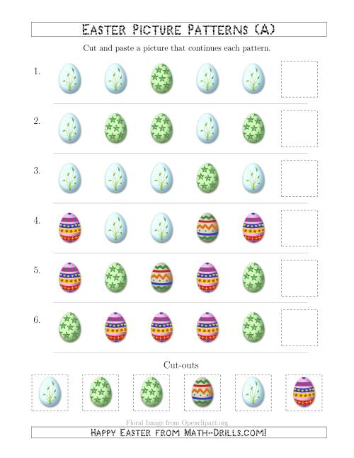 The Easter Egg Picture Patterns with Shape Attribute Only (A) Math Worksheet