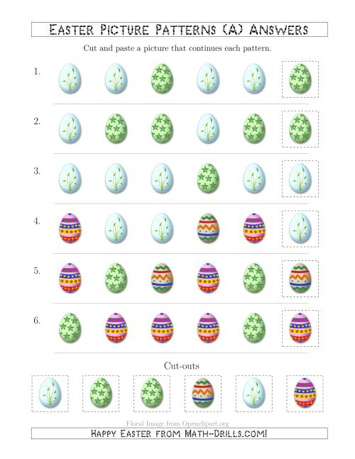 The Easter Egg Picture Patterns with Shape Attribute Only (A) Math Worksheet Page 2