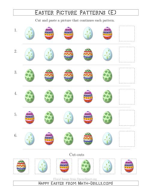 The Easter Egg Picture Patterns with Shape Attribute Only (E) Math Worksheet