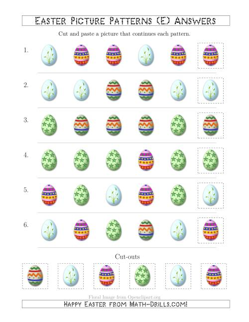 The Easter Egg Picture Patterns with Shape Attribute Only (E) Math Worksheet Page 2