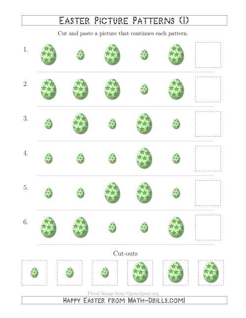 The Easter Egg Picture Patterns with Size Attribute Only (I) Math Worksheet