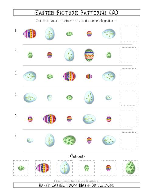The Easter Egg Picture Patterns with Shape, Size and Rotation Attributes (A) Math Worksheet