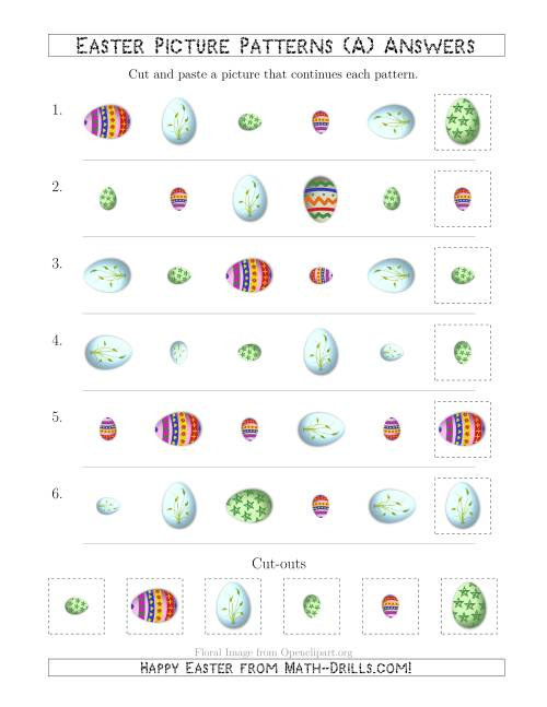The Easter Egg Picture Patterns with Shape, Size and Rotation Attributes (A) Math Worksheet Page 2