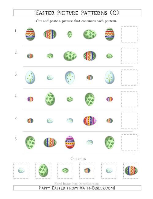 The Easter Egg Picture Patterns with Shape, Size and Rotation Attributes (C) Math Worksheet