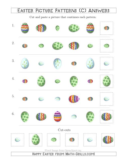 The Easter Egg Picture Patterns with Shape, Size and Rotation Attributes (C) Math Worksheet Page 2
