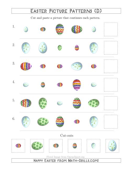 The Easter Egg Picture Patterns with Shape, Size and Rotation Attributes (D) Math Worksheet
