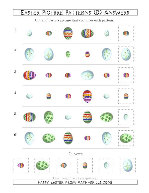 The Easter Egg Picture Patterns with Shape, Size and Rotation Attributes (D) Math Worksheet Page 2