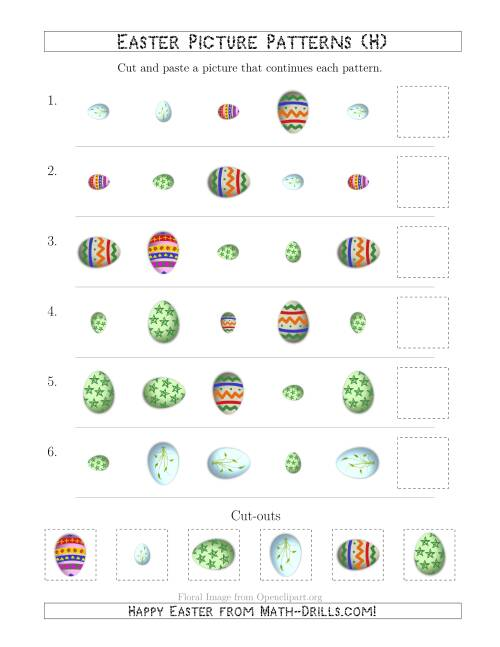 The Easter Egg Picture Patterns with Shape, Size and Rotation Attributes (H) Math Worksheet