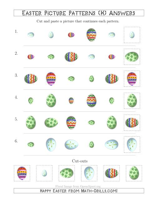 The Easter Egg Picture Patterns with Shape, Size and Rotation Attributes (H) Math Worksheet Page 2