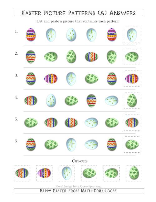 The Easter Egg Picture Patterns with Shape and Rotation Attributes (A) Math Worksheet Page 2