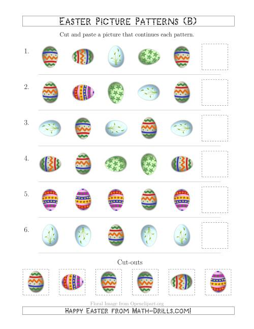 The Easter Egg Picture Patterns with Shape and Rotation Attributes (B) Math Worksheet