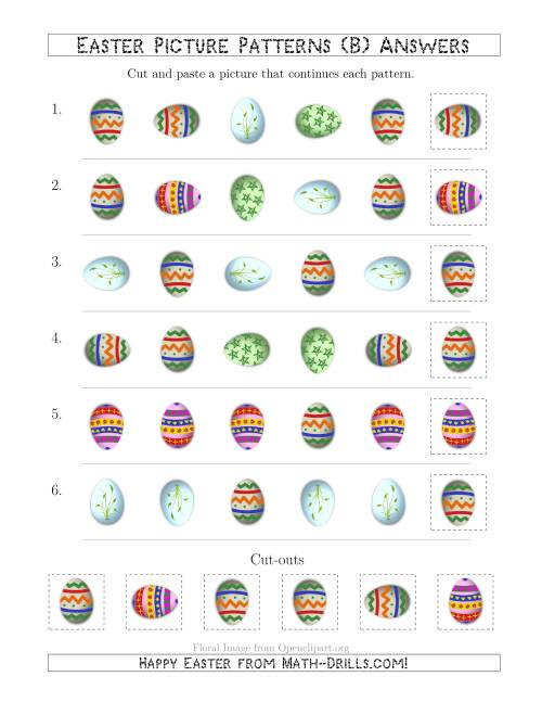 The Easter Egg Picture Patterns with Shape and Rotation Attributes (B) Math Worksheet Page 2