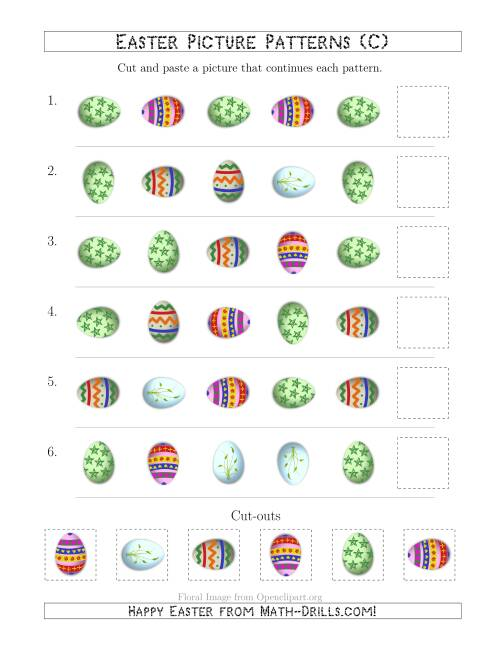 The Easter Egg Picture Patterns with Shape and Rotation Attributes (C) Math Worksheet