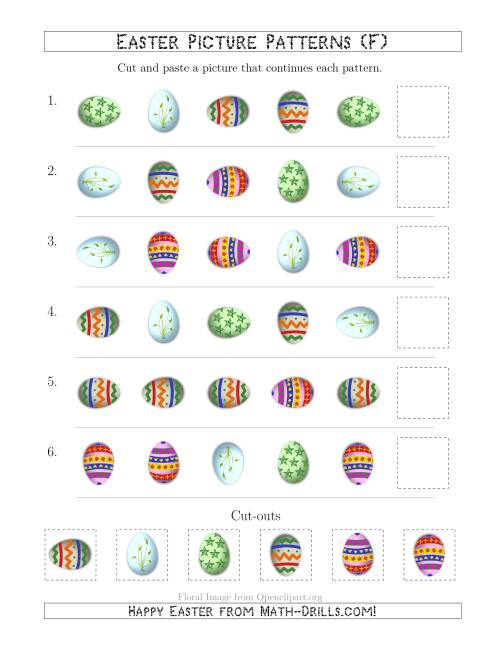 The Easter Egg Picture Patterns with Shape and Rotation Attributes (F) Math Worksheet