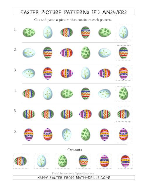 The Easter Egg Picture Patterns with Shape and Rotation Attributes (F) Math Worksheet Page 2