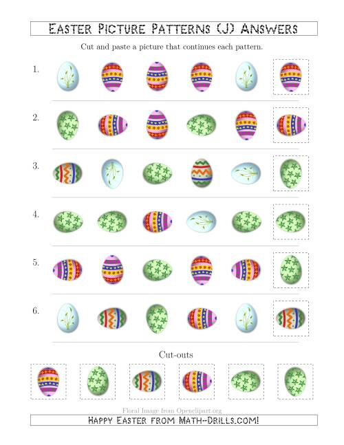The Easter Egg Picture Patterns with Shape and Rotation Attributes (J) Math Worksheet Page 2