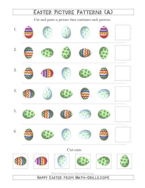The Easter Egg Picture Patterns with Shape and Rotation Attributes (All) Math Worksheet