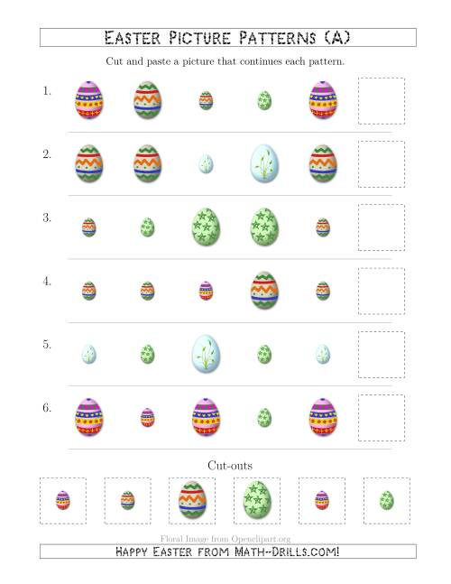 easter egg picture patterns with shape and size attributes a easter math worksheet. Black Bedroom Furniture Sets. Home Design Ideas