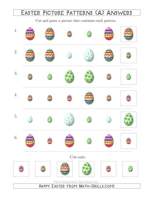 The Easter Egg Picture Patterns with Shape and Size Attributes (A) Math Worksheet Page 2