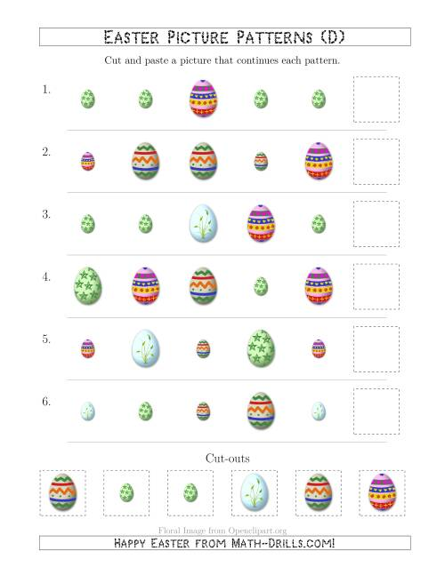 The Easter Egg Picture Patterns with Shape and Size Attributes (D) Math Worksheet
