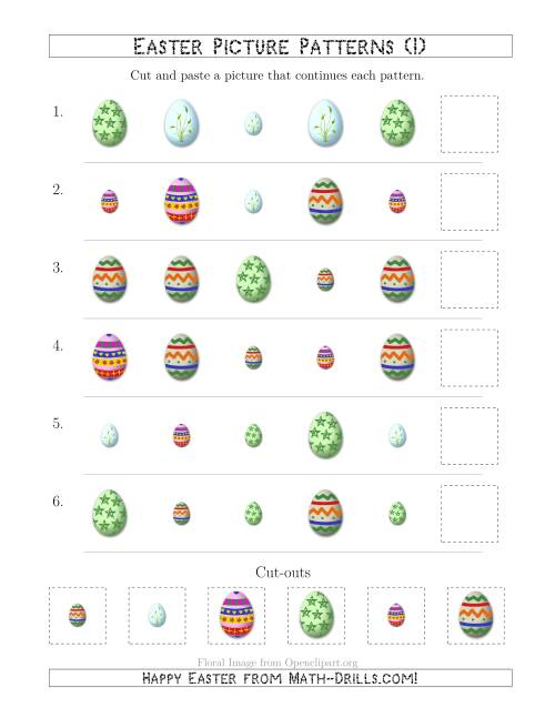 The Easter Egg Picture Patterns with Shape and Size Attributes (I) Math Worksheet