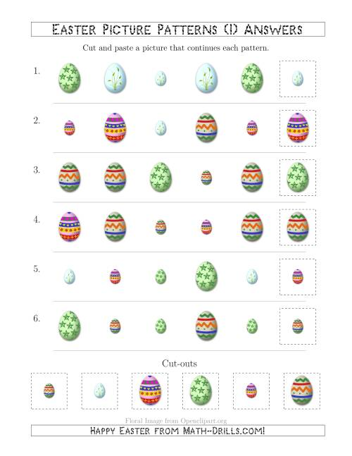 The Easter Egg Picture Patterns with Shape and Size Attributes (I) Math Worksheet Page 2