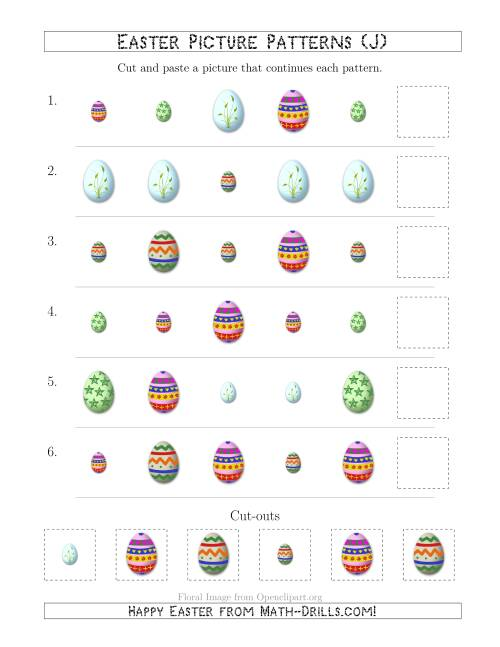 The Easter Egg Picture Patterns with Shape and Size Attributes (J) Math Worksheet