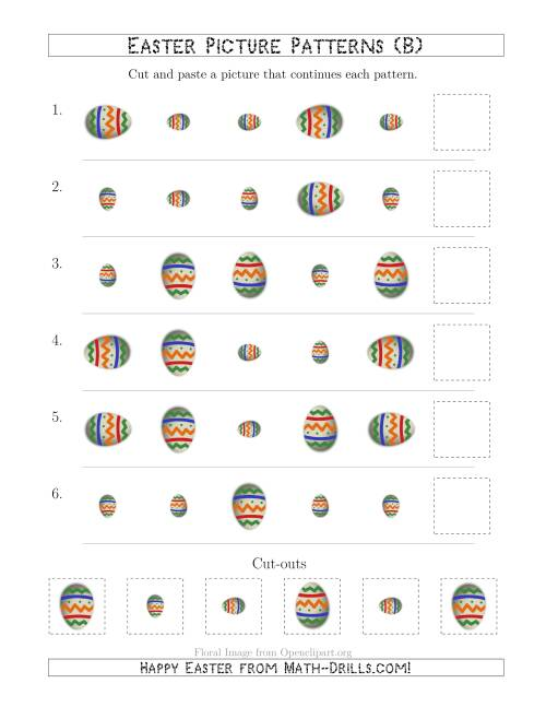 The Easter Egg Picture Patterns with Size and Rotation Attributes (B) Math Worksheet